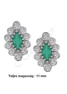 Smaragd zöld köves francia záras fülbevaló, ezüst ékszer