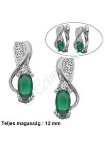 Zöld köves francia záras fülbevaló, ezüst ékszer