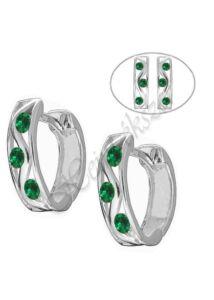 Kényelmes zöld köves U alakú fülbevaló, ezüst ékszer