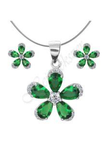 Ezüst ékszer garnitúra, fülbevaló, medál szintetikus smaragd kővel