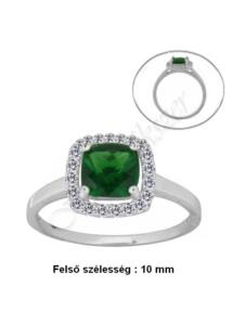 Smaragd zöld köves gyűrű, egyedi ezüst ékszer minden méretben