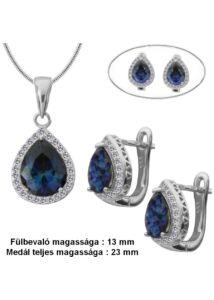 Zafír kék köves fülbevaló medál nyaklánc szett, ezüst ékszer