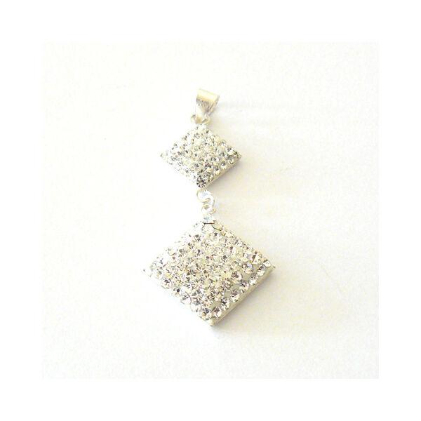 Swarovski kövekkel díszített dupla négyzet medál, ezüst ékszer