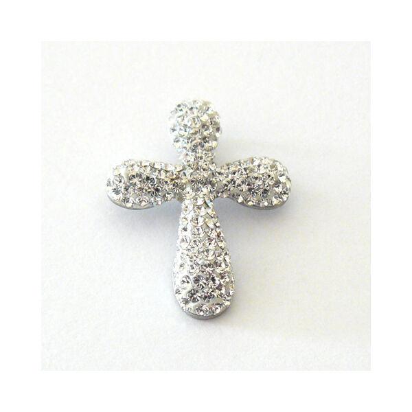 Swarovski kövekkel díszített kereszt medál, ezüst ékszer
