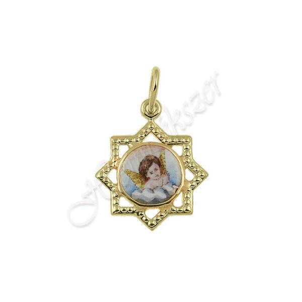 Arany zománc medál angyalkával