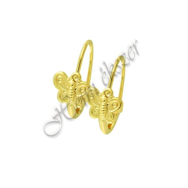 Pillangós bébi fülbevaló, arany ékszer