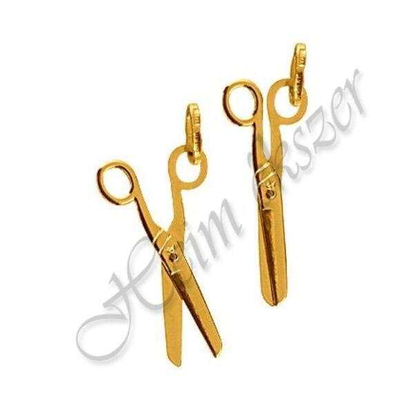 Sárga arany működő olló medál
