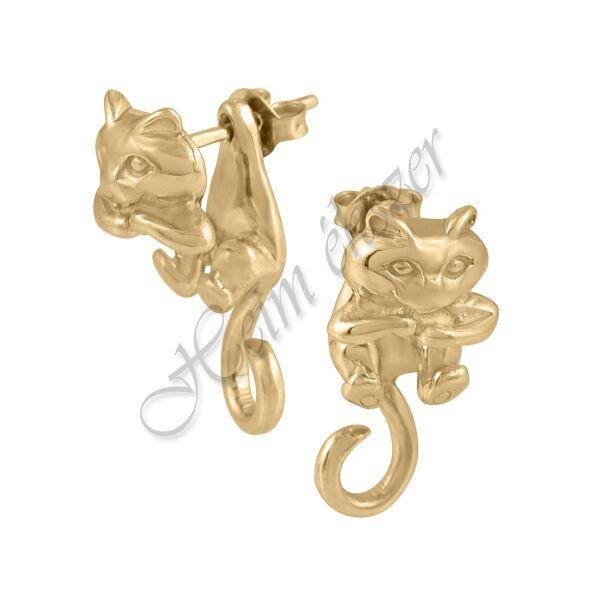 Arany cica fülbevaló, arany ékszer
