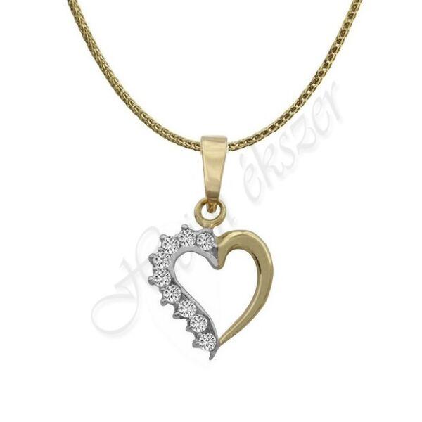 Arany szív medál nyaklánccal Heim Ékszer webáruház