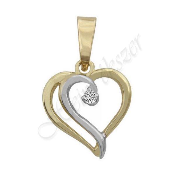Arany szív medál pici kővel Heim Ékszer webáruház