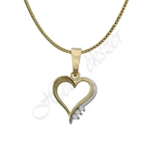 Arany szív medál vékony nyaklánccal Heim Ékszer webáruház