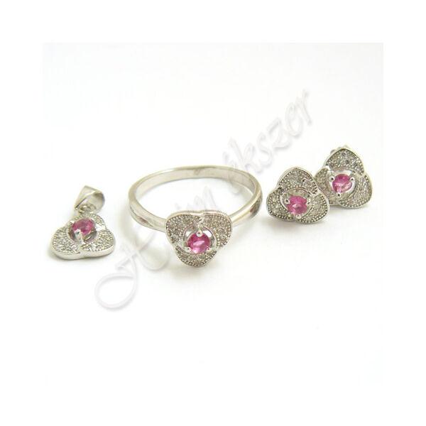 Ezüst ékszer gyűrű, fülbevaló medál szett
