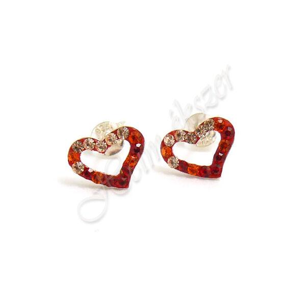 Piros Swarovski kövekkel díszített szív fülbevaló, ezüst ékszer