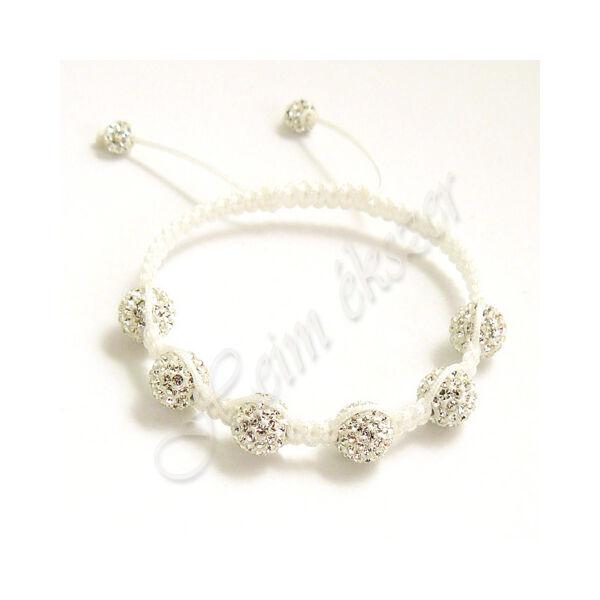 Shamballa fehér swarovski crystal karkötő