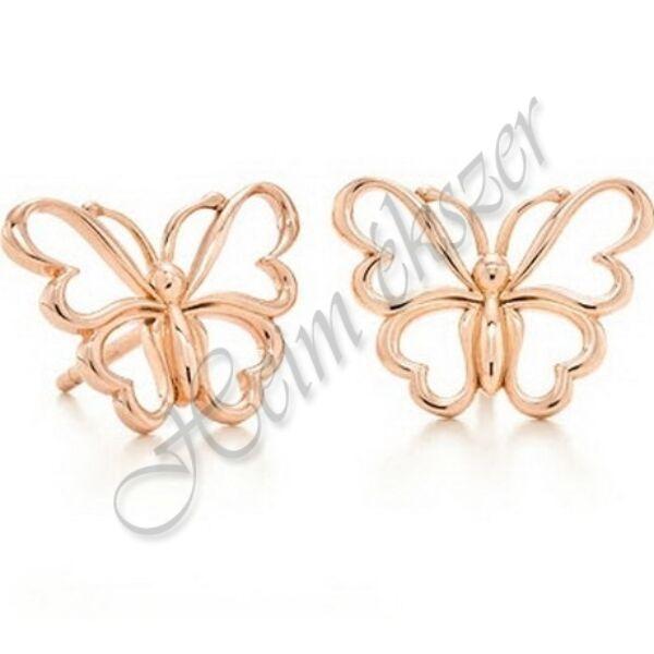 Pillangó fülbevaló, egyedi, kézzel készült arany ékszer