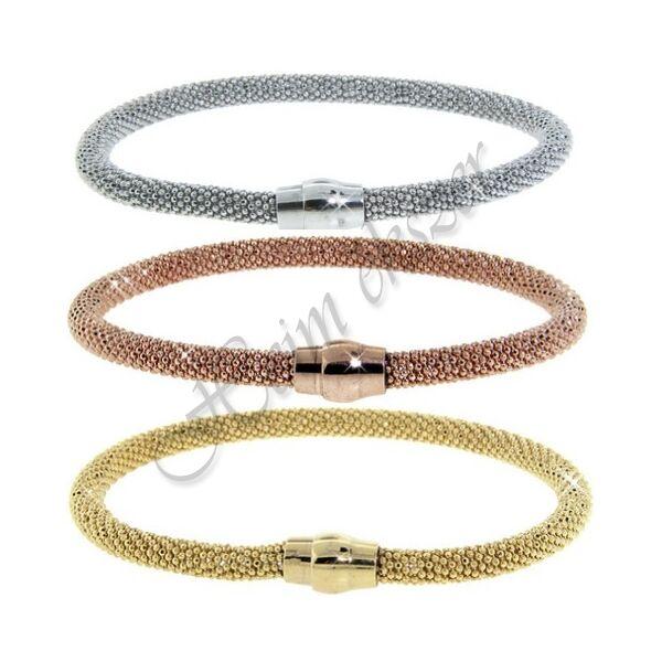 Ezüst Mesh karkötő, rose arany és sárga arany színben is, ezüst ékszer