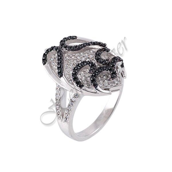 Fekete - fehér köves ezüst gyűrű