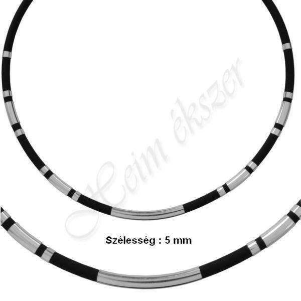 Férfi ezüst kaucsuk széles nyaklánc Heim Ékszer webáruház