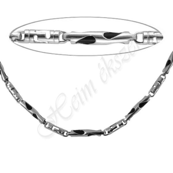 Férfi kaucsuk görög mintás ezüst nyaklánc Heim Ékszer webáruház