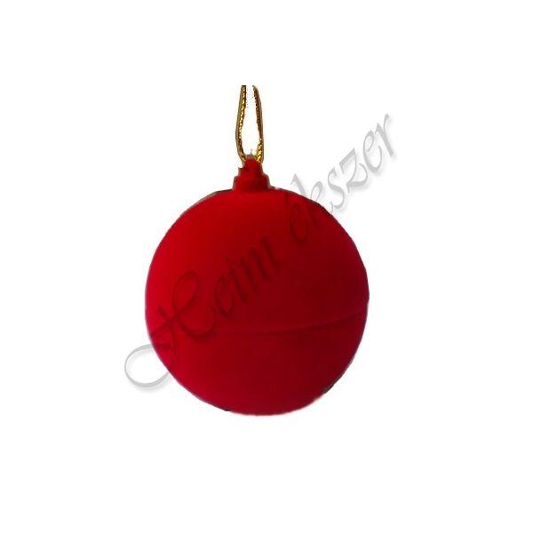 Karácsonyfára akasztható piros gömb díszdoboz