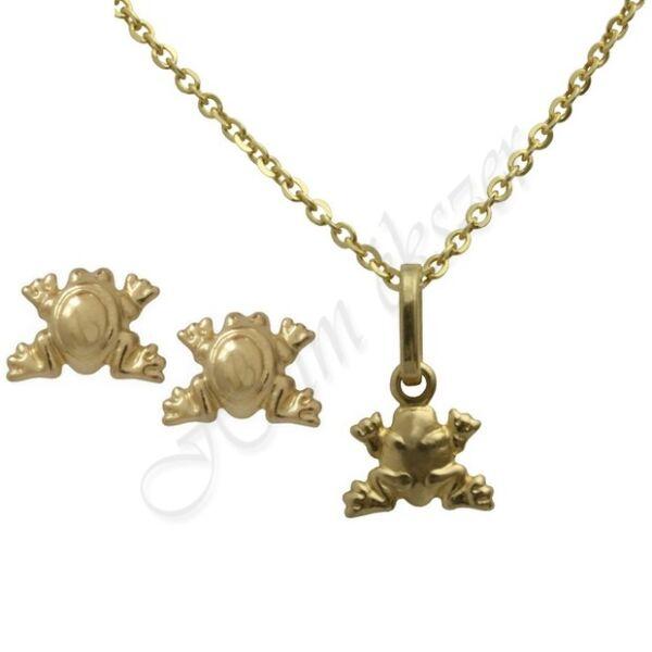 Pici arany béka fülbevaló medál nyaklánc garnitúra Heim Ékszer webáruház