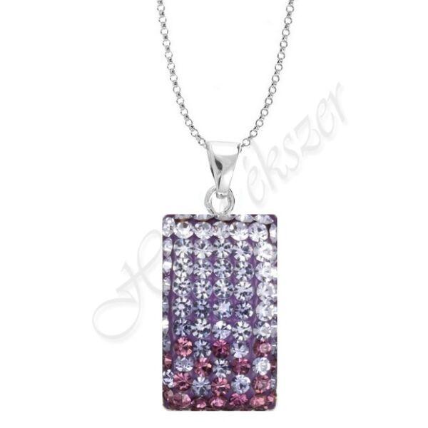 Swarovski kövekkel díszített lila ezüst medál-nyaklánc garnitúra Heim Ékszer webáruház