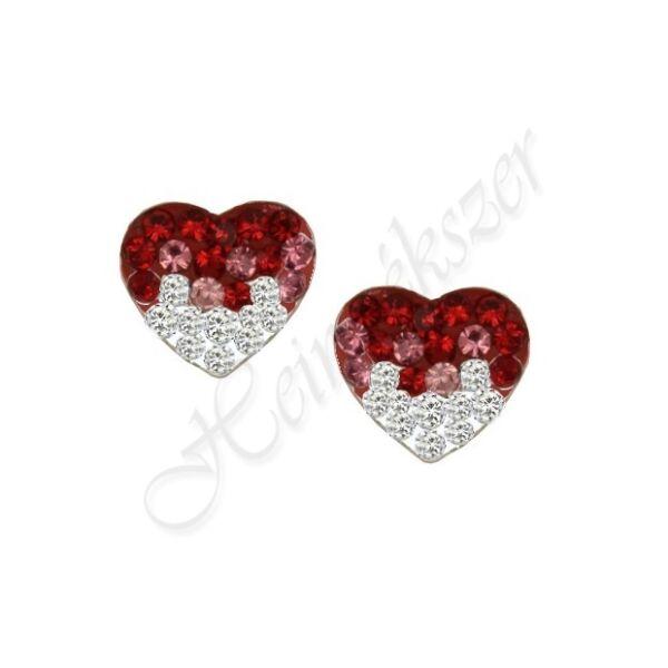 Swarovski kövekkel díszített pici ezüst szív fülbevaló Heim Ékszer webáruház
